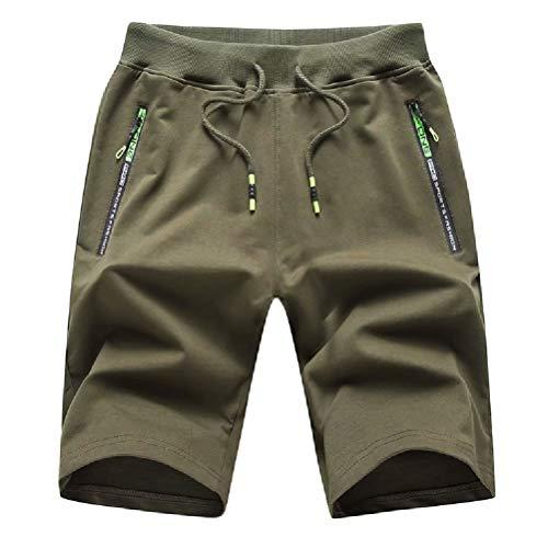 Tansozer Men's Casual Shorts Elastic Waist Comfy Workout Shorts Drawstring Summer Jogger Shorts with Zipper Pockets (Army Green, Large) Drawstring Two Pocket Shorts
