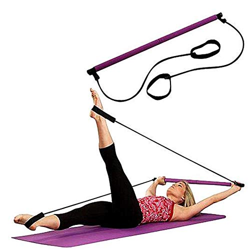 2PCS Portable Yoga Pilates Stick Resistance Band and Toning Bar Pull Band, with Foot Loop, Rubber and EVA Foam, Workout, Fitness, Stretch (Best Lat Exercises At Home)