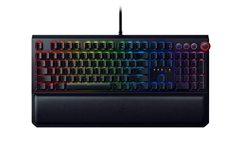 Razer BlackWidow Elite Esports Gaming Keyboard – Multi-Function Digital Dial with Dedicated Media Controls – Ergonomic Wrist Rest – Razer Green Mechanical Switches Tactile and Clicky Renewed