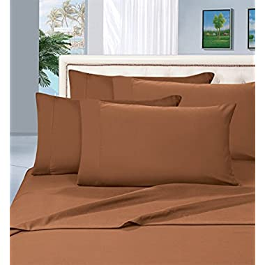 Elegant Comfort 1500 Thread Count Wrinkle & Fade Resistant Egyptian Quality Hypoallergenic Ultra Soft Luxurious 4-Piece Bed Sheet Set, Queen, Mocha Chocolate