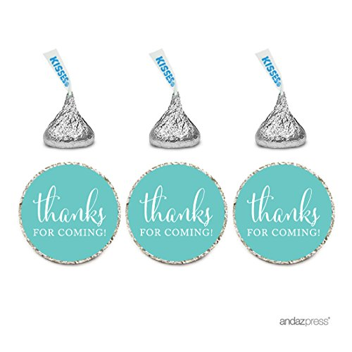 Andaz Press Chocolate Drop Labels Stickers, Thanks for Coming!, Diamond Blue, 216-Pack, for Wedding Birthday Party Baby Bridal Shower Hershey's Kisses Party Favors Decor Envelope Seals -