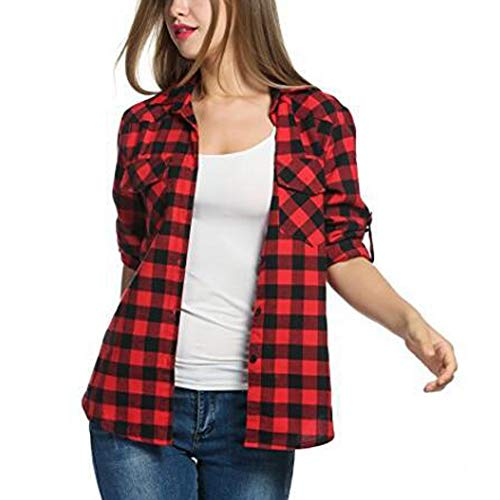 Two Pocket Flannel - Askwind Women's Plaid Flannel Shirt, Roll up Long Sleeve Checkered Cotton Shirt (Red, S)