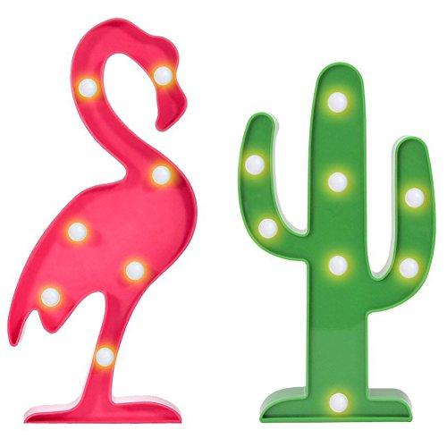 FuturePlusX Flamingo Cactus Table Lamp, Marquee Sign Lights Tropical Flamingo Cactus Night Light Party Cactus Decor by FuturePlusX