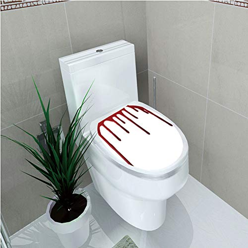 Toilet Custom Sticker,Horror,Flowing Blood Horror Spooky Halloween Zombie Crime Scary Help me Themed Illustration,Red White,Diversified Design,W12.6