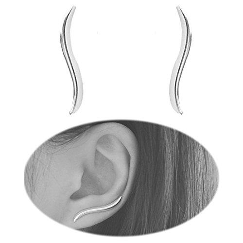 BleSky Leaf Studs Ear Crawler Earrings Cuffs Climber Ear Wrap Pin Cute Women Vine Pierced Charms Hoops Jewelry Silver Plated