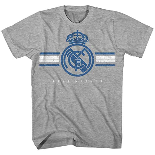 Real Madrid Soccer Futbol Football Club Team Logo Spain UEFA La Liga Copa del Rey FIFA World Cup Men's Adults T-Shirt (Heather Grey, Large)