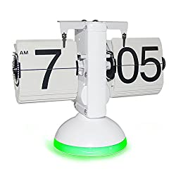 New Generation Flip Clock , KABB Mechanical Retro Flip Clock Internal Gear Operated Flip Down Clock with Voice Control LED Nightlight for Living Room Office Home Decoration (White with Green Light)