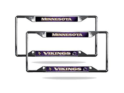 Rico Minnesota Vikings NFL Chrome (2) EZ View License Plate Frame Set ()