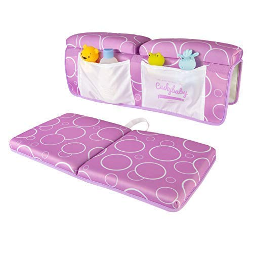 Cushybaby Bath Kneeler and Elbow Rest Pad Set - Thick, Non-Slip, Kneeling Mats Cushion and Protect Arms and Knees So You Can Bathe Your Baby in Comfort! Enjoy Tub Time as Much as Your Kids Do! (Lilac)