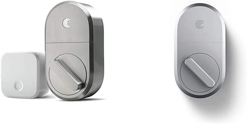 August Smart Lock + Connect Wi-Fi Bridge, Satin Nickel, Works with Alexa. Keyless Home Entry from Anywhere & Smart Lock - Keyless Home Entry with Your Smartphone - Silver