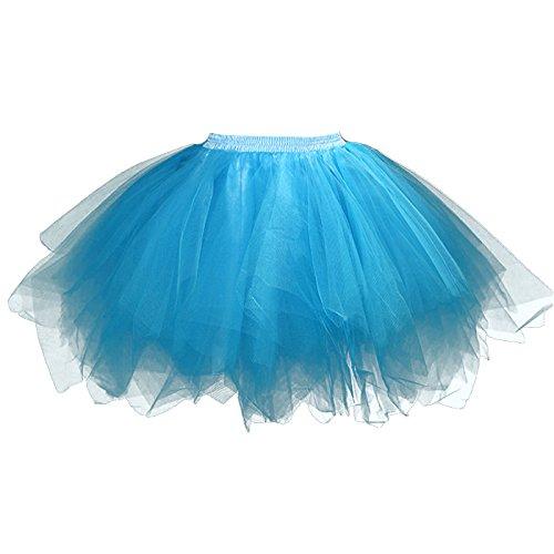 Feoya - Jupe Tutu Adulte Femme Ballet Jupe en Tulle Courte Multi Couches Lger pour Fte Danse Spectacle Taille lastique Bleu