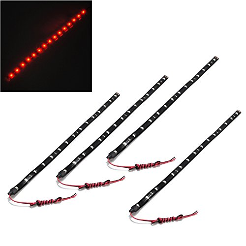 SODIAL(R) 4 Pcs 30cm Car Truck Flexible Waterproof LED Light Strip Red (Red) 4333221146