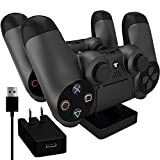 Ortz® PS4 Charging Station + FREE 10ft USB Cable w/ AC Adapter Included - Best Charger Dock Stand Base - Charge Playstation 4 Controllers - Works with PS4 Dual Shock Wireless Controller - 1 YEAR WARRANTY from Ortz