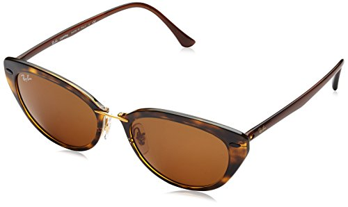 Ray-Ban INJECTED WOMAN SUNGLASS - SHINY HAVANA Frame DARK BROWN Lenses 52mm Non-Polarized