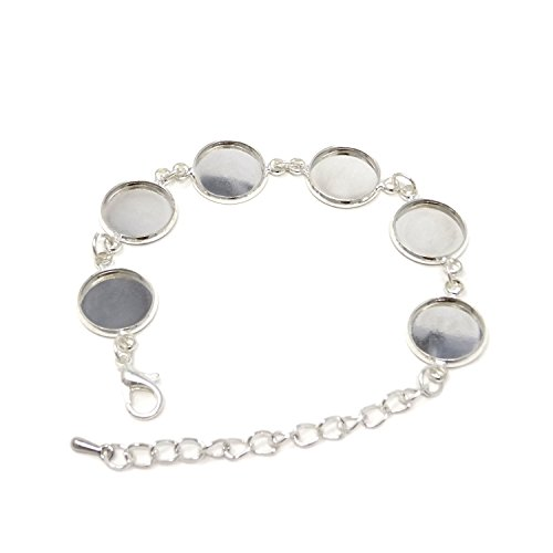 Honbay 3PCS Metal Adjustable Bracelet Chain with 12mm Round Blank Cabochon Base Adjustable Blank Bangle with 6 Pads Round Jewelry Disc Base Bezel Tray
