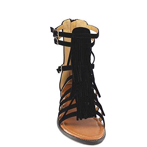 Womens New Fasion Katia Golden Buckle Strapy Fringe Tassel Midcalf Flat Sandle Shoes Black BCNg8n5aQ