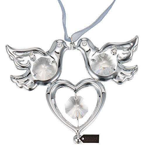 Ornament Love (Matashi Crystal Studded Love Doves Birds Ornament, Best Love Symbol Gift (Chrome Plated))