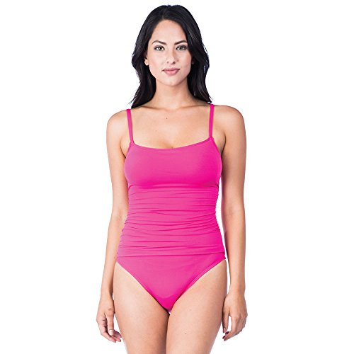 La Blanca Women's Island Goddess Rouched Body Lingerie Mio One Piece Swimsuit, Fuchsia, -