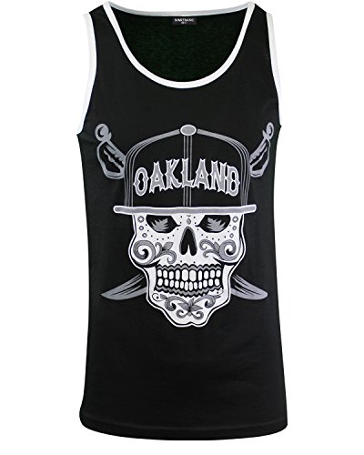 - Mens Day of The Dead Sugar Skull Oakland California Mens Tank Top Shirt (Oakland Skull Tank, L)