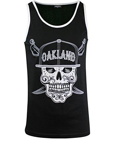 - Mens Day of The Dead Sugar Skull Oakland California Mens Tank Top Shirt (Oakland Skull Tank, XXL)