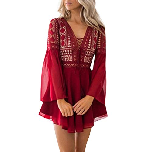(Mysky Summer Popular Women Elegant Floral Lace Lace Up Bowknot Flare Sleeve Pure Color Cocktail Party Mini Dress Red)