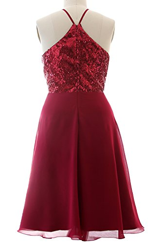 Dress Black Bridesmaid Sequin Halter Vintage Formal MACloth Silver Party Chiffon Gown Short qwAPISf