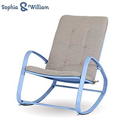 """Sophia and William Outdoor Patio Rocking Chair Padded Steel Rocker Chairs Support 300lbs, Blue - Versatile High Back Outdoor Rocking Chair: Simple and stylish design, suitable for indoor & outdoor use like patio, deck, poolside, porch, backyard, balcony, garden. Ideal place for reading or a nap Comfortable & Breathable: The patio rocker provides capacious space, with soft and removable pad. Footrest bar frees your body from ground eliminating fatigue when rocking back and forth. Mesh design for back and seat perfectly avoids heat accumulation or sweat in summer Sturdy & Rust-Proof Patio Chairs: Reinforced powder coated steel frame (main frame tube size; 15.7""""L*5.5H"""") is anti-rust, supports up to 300 lbs - patio-furniture, patio-chairs, patio - 41ZPUsNKKcL. SS400  -"""