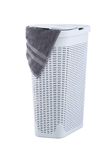 Superio Laundry Hamper with Lid 1.15 Bushel Slim and Tall Wicker Style White Color - Durable Laundry Basket with Cutout Handles - Dirty Cloths Storage in Bathroom or Bedroom Apartment, Dorms (Wicker White With Basket Handle Large)
