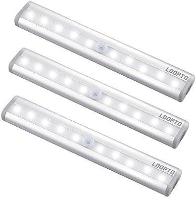 LDOPTO Sensor luces led armario, LED luz del armario,bajo el armario,funciona con batería de iluminación con tira magnética pegada, auto ...
