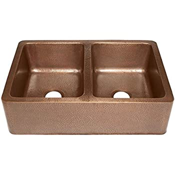 Rockwell Farmhouse Apron Front Handmade Pure Solid Copper 33 In. Double Bowl  Copper Kitchen Sink