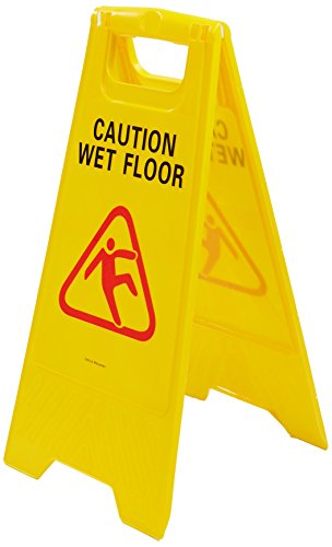 Mind Reader Commercial 2-Sided Floor Safety Sign Caution Wet Floor Warning Sign, Yellow by Mind Reader