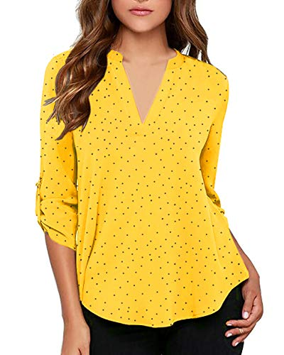 Capri Blouse - roswear Women's Casual Polka Dot Roll Tab Long Sleeve Blouse Yellow Medium