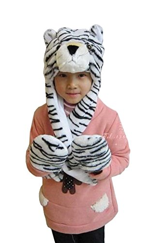 [Tonwhar Cartoon Animal Hood Hoodie Hat with Attached Scarf and Mittens (White Tiger)] (White Tiger Costumes)