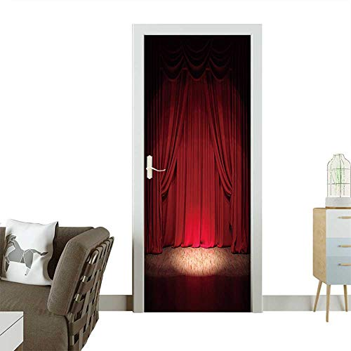 Homesonne 3D Photo Door Murals Theater Stage red Curtains Show Spotlight Easy to Clean and Apply W36 x H79 -