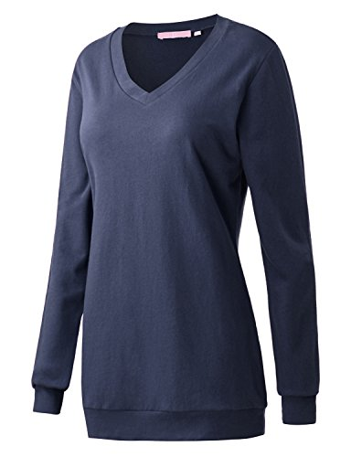 Regna X Boho for Woman Ribbed Trim Thermal Casual Navy Large v-Neck Tunic Pullover Sweats Sweatshirts