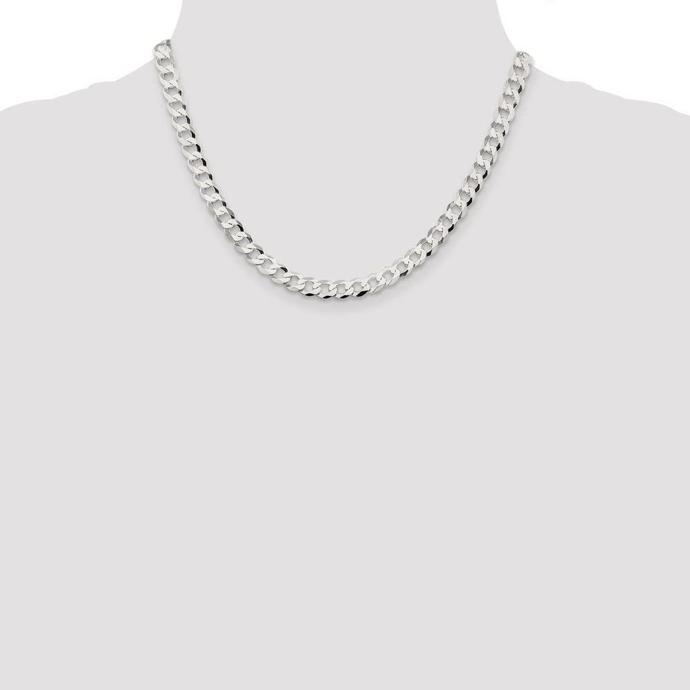 Black Bow Jewelry Mens 6.8mm Sterling Silver Solid Flat Curb Chain Necklace