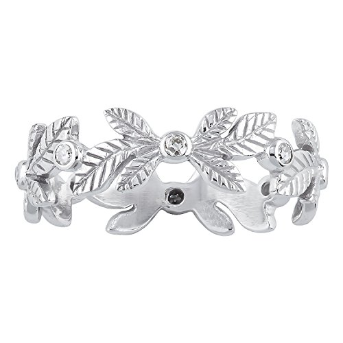 Instagems 10k White Gold Engraved Leaf Diamond Eternity Ring (1/8 cttw, I-J Color, I2-I3 (Diamond Engraved Eternity Band)