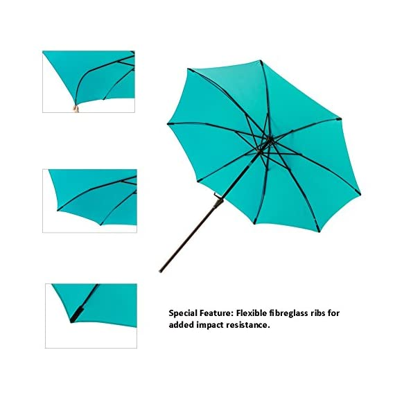 C-Hopetree 11' Outdoor Market Umbrella with Aluminum Pole and Tilt for Outside Patio Table Pool Garden Shade Yard or Balcony, Aqua Blue - IMPACT RESISTANT - Fiberglass rib tips provide peace of mind for those accidental blow overs. NOTE: The umbrella is NOT wind rated. To avoid damage it must be closed and secured in winds above 5 mph. DELUXE FABRIC - For optimal sun protection shading and shelter. Search B06XTZ76YG for a matching PROTECTIVE STORAGE COVER. PREMIUM CRANK MECHANISM for effortless opening and smooth closing of your patio umbrella. NOTE: Base weight is not included. Search B0797VXG5W for a matching weighted stand. - shades-parasols, patio-furniture, patio - 41ZPXHtMn0L. SS570  -