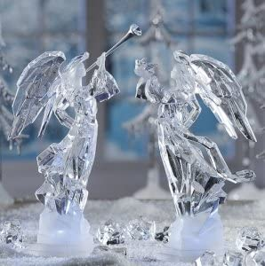 CC Christmas Decor Pack of 2 ICY Crystal Illuminated Angel Ice Sculpture Figurines 11