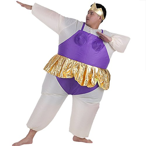 Inflatable Ballet Ballerina Cosplay Costume Halloween Funny Fancy Dress Blow Up Suit (Adult(150-200CM), Purple)
