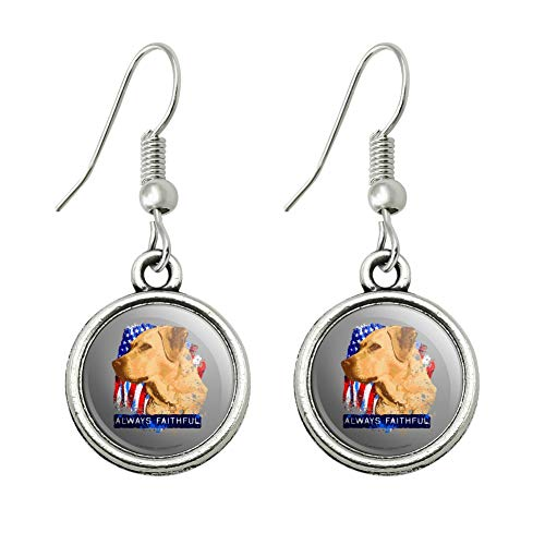 GRAPHICS & MORE Always Faithful Yellow Lab Labrador Hunting Dog Novelty Dangling Drop Charm Earrings]()