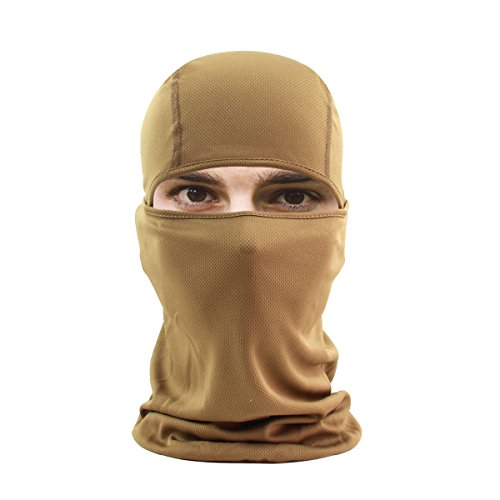 hikevalley Balaclava Face Mask Adjustable Windproof UV Protection Hood (Brown)