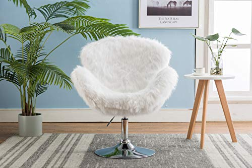 ZHENGHAO Faux Fur Swivel Makeup Stool, Modern White Swan Chair Long Hair Shaggy Dog Accent Chair for Living Room/Bedroom (Alabaster White) - 8