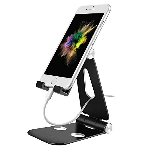 DIMICA Cell Phone Stand, Tablet Stand, Adjustable Foldable Multi-Angle Aluminum Desktop Phone Stand for Switch, iPad, iPhone X 8 6 6s 7 Plus, Samsung Galaxy S8/ S8 Plus Charging and More, Black
