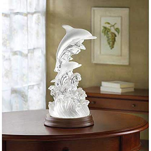 unbrand Dolphin Frosted Glass Color Changing LED Lighted Statue