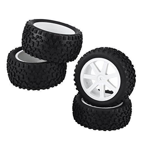 Drfeify 1/10 Crawler Car Tire, 4 Pcs Rubber Wheel Tire Replacement Parts for 1/10 Buggy Car(White) ()