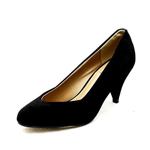 Las señoras del talón bajo Zapatos de tacón en punta con tacón tachonada Black Suedette