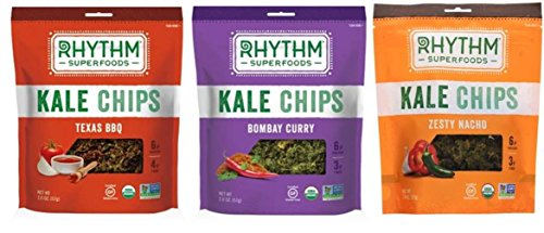 Rhythm Superfoods Organic Gluten-Free Non-GMO Kale Chips 3 Flavor Variety Bundle: (1) Texas BBQ Kale Chips, (1) Bombay Curry Kale Chips, and (1) Zesty Nacho Kale Chips, 2 Oz. Ea. (3 Bags Total)