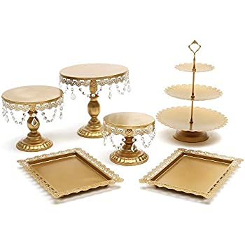 Lucky Monet 6Pcs Crystals Cake Stand Cupcake Tower Stand Wedding Plates Set Metal Round Party Dessert Display Décor with Crystals Beads (6pcs, Gold)