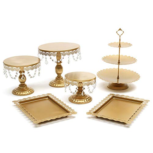 (Lucky Monet 6Pcs Crystals Cake Stand Cupcake Tower Stand Wedding Plates Set Metal Round Party Dessert Display Décor with Crystals Beads (6pcs, Gold))